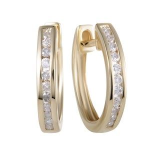 ~.25ct Small  Yellow Gold Diamond Hoop Earrings