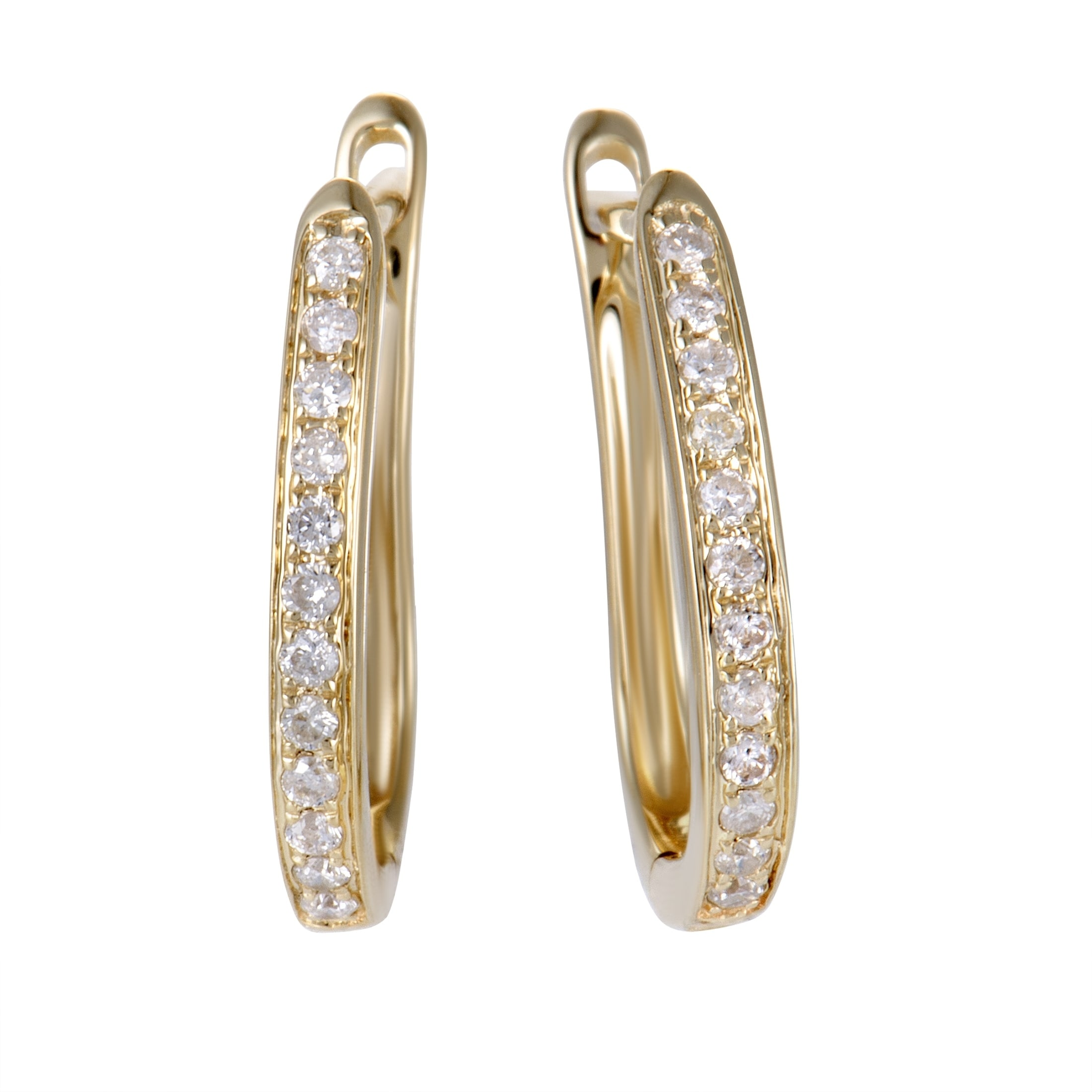 25ct Small Yellow Gold Diamond Hoop Earrings