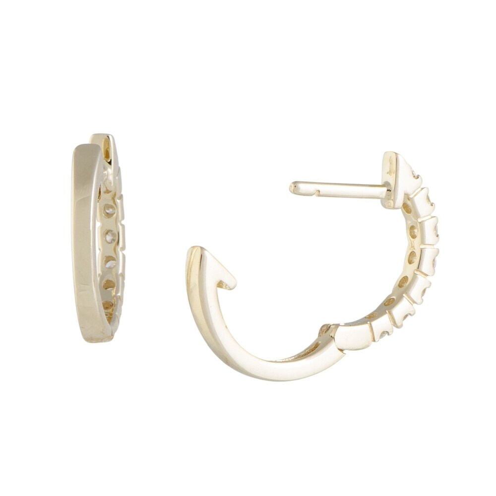 Shop ~.25ct Tiny Yellow Gold Diamond Hoop Earrings - 19562954