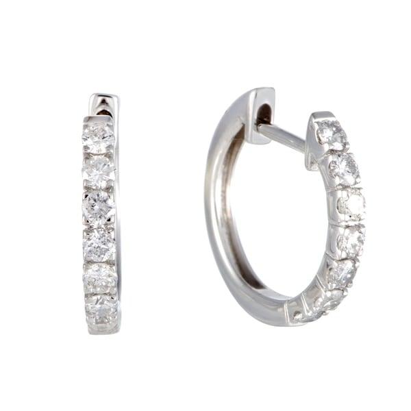 75ct Small White Gold Diamond Hoop Earrings Ships