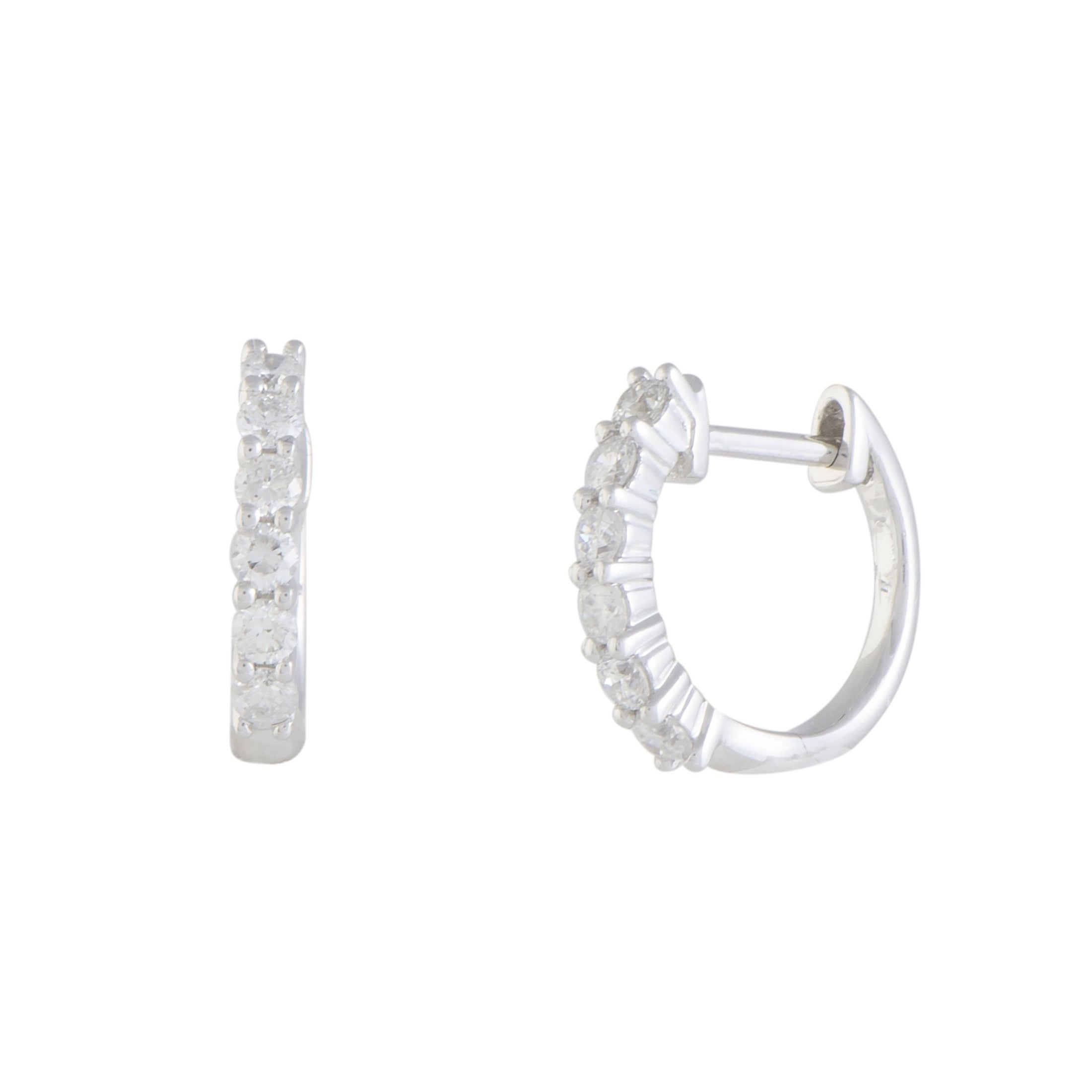 50ct Small White Gold Diamond Hoop Earrings