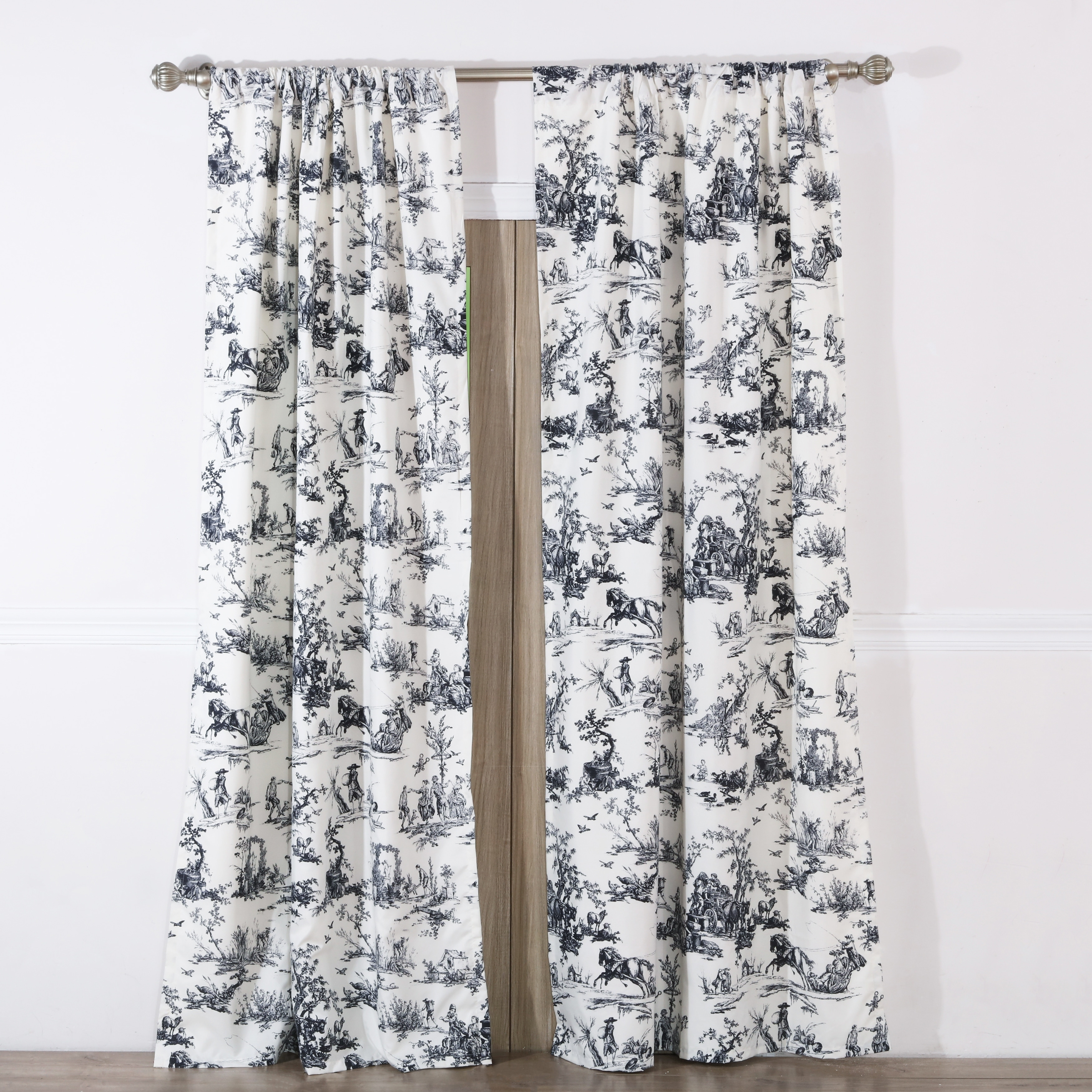 Clic Toile Black Curtain Panel Pair