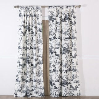 Classic Toile Black Curtain Panel Pair with Tiebacks  (Set of Two Panels)