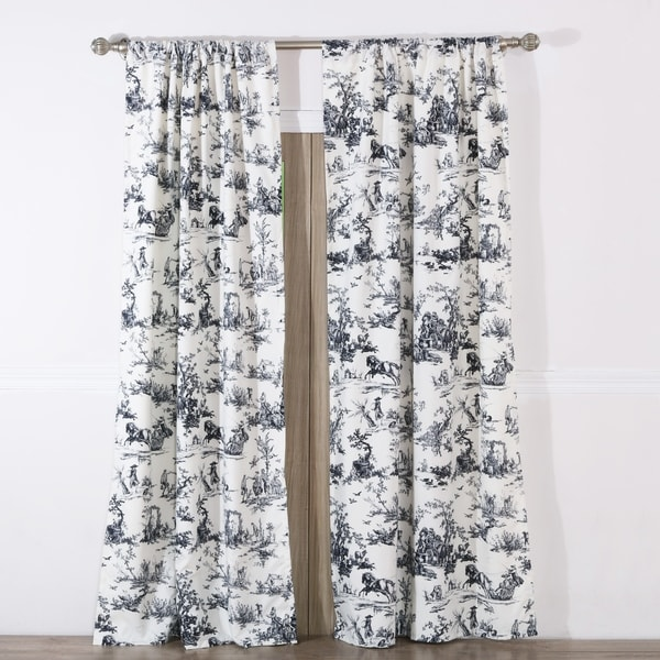 Shop Classic Toile Black Curtain Panel Pair With Tiebacks