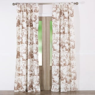 Classic Toile Taupe Curtain Panel Pair With Tiebacks Set Of Two Panels