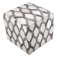 """From India Grey Ottoman Cowhide Cube Made of Real Leather 18""""X18"""""""