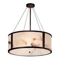 Justice Design Group LumenAria Tribeca 36-inch Dark Bronze Drum Pendant, Off-white Shade