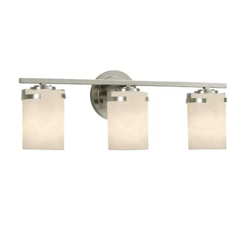 Justice Design Clouds Atlas 3-light Brushed Nickel Bath Light, Off-white Cylinder w/ Flat Rim Shade