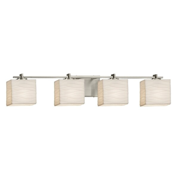 Justice Design Group Porcelina Era 4 Light Brushed Nickel Bath Light, Waves  Rectangle Shade