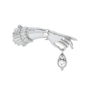Silver Tone Belle Epoch Ladies Hand with Pave Bracelet and Ring Detail Pin