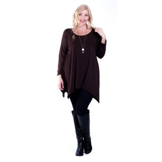 Hot Ginger Women's Plus Size Long Sleeve SharkBite Top (More options available)