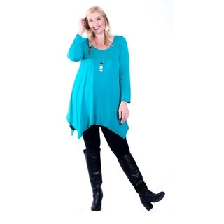Hot Ginger Women's Plus Size Long Sleeve SharkBite Top