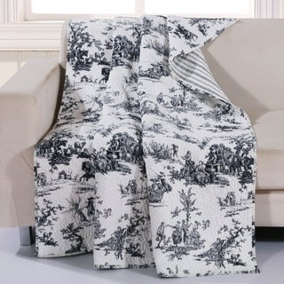 Classic Toile Black Quilted Cotton Throw