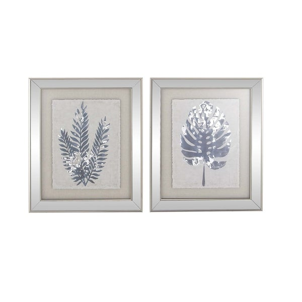 Shop Set Of 2 Modern Wood Leaf Silhouettes Framed Wall Art On Sale