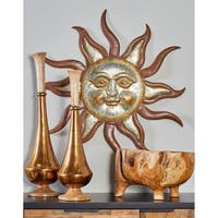 31 X 29 inch Industrial Iron Sun Face Wall Decor