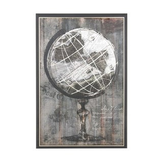 Rustic Wood and Canvas Painted Globe Framed Wall Art