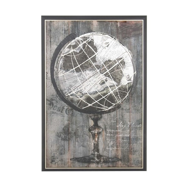 Rustic Wood and Canvas Painted Globe Framed Wall Art - Free Shipping ...