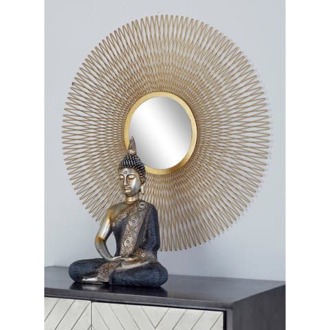 Set of 3 Modern Tin and Glass Round Gold Wire Sunburst Wall Mirrors
