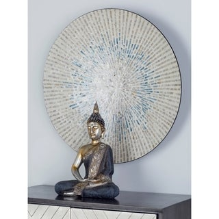 Natural Wood and Shell Round Radial Design Wall Decor
