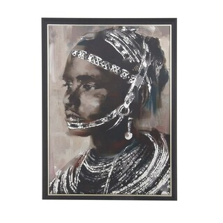 Rustic Wood and Canvas Painted Tribal Girl Framed Wall Art