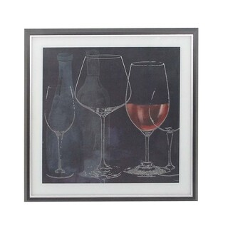Rustic Wood and Canvas Upright Goblets and Wine Bottles Wall Art