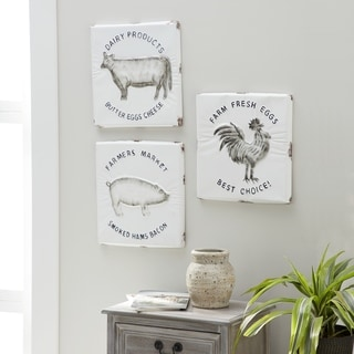 Set of 3 Farmhouse Barnyard Animals Metal Wall Decor