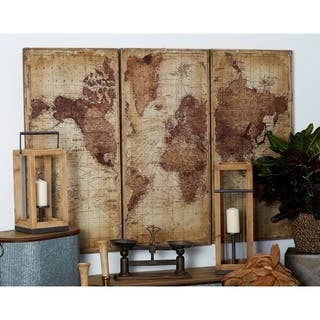 Set of 3 Rustic Wood Antique World Map Wall decor by Studio 350