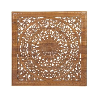 Rustic Teak Wood Carved Flower and Flourishes Square Brown Wall Panel