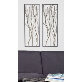 Set of 2 Natural Iron Twig Wall Decor