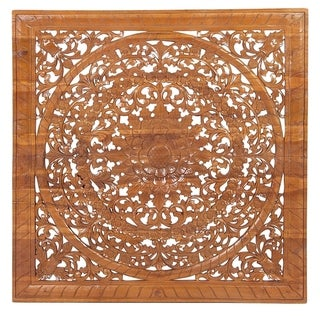 Traditional Teak Wood Carved Floral Medallion Wall Plaque