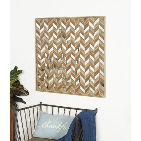 36 X 36 inch Traditional Brown Chevron-Patterned Mirrored Wall Art