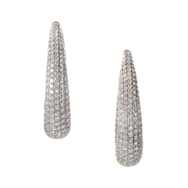 Thick White Gold Micro Pave Hoop Earrings On Free Shipping Today 19563317