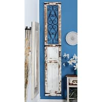 Traditional Distressed Wood with Iron Scrollwork Door Panel Wall Decor