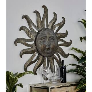 Traditional Gray Celestial Sun Iron Wall Decor