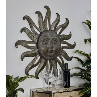 Traditional Gray Celestial Sun Iron Wall Decor