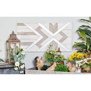 Contemporary Geometric-Patterned Rectangular Wood Wall Panel