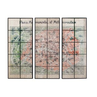 Set of 3 Traditional Ceramic and Wood Framed Paris Map Wall Plaques