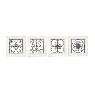 Set of 4 Flourished and Floral Wood and Iron Wall Plaque