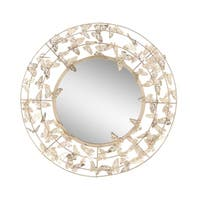Modern Iron Round Butterfly Wall Mirror