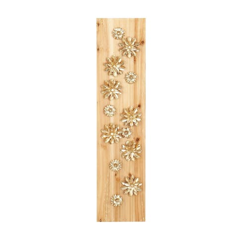 39 X 9 inch Natural Wood and Iron Gold Petaled Flowers Wall Decor