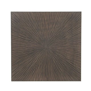 Modern Pine Wood Carved Radial Pattern Square Wall Panel Decor
