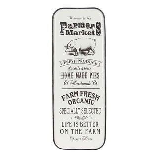 Farmhouse Pig and Market Typography Iron Wall Sign