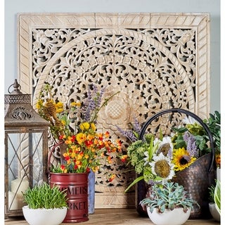Rustic Teak Wood Carved Flower and Flourishes Square Beige Wall Panel