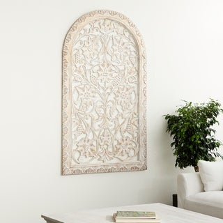 Modern Pine Wood Botanical-Inspired Arched Wall Panel Decor