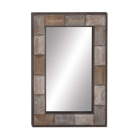 Rustic Rectangular Wood and Glass Wall Mirror