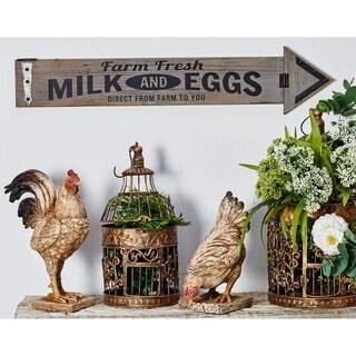 Farmhouse Wood and Iron Farm Fresh Milk and Eggs Arrow Wall Sign