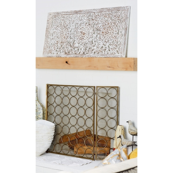 Farmhouse 22 x 47 Inch Carved Floral Wooden Wall Panel by Studio 350. Opens flyout.