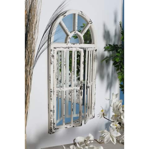 Traditional Distressed White Wooden Arched Window Wall Mirror