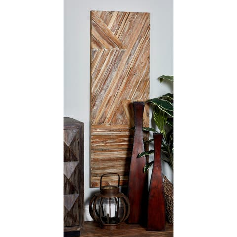 Rustic Teak Wood Geometric-Patterned Wall Panel