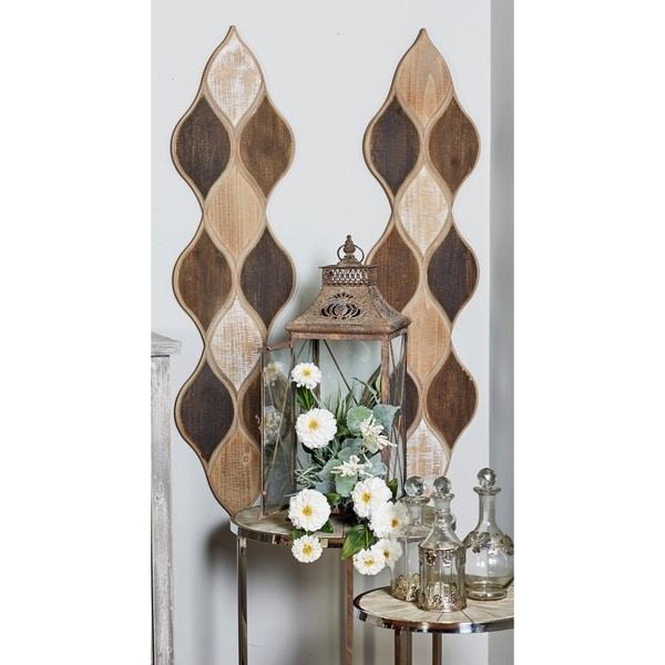 Set of 2 Rustic Geometric-Patterned Wood Wall decor